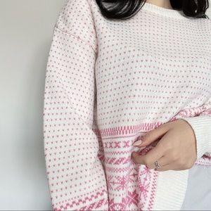 Sweaters - Pink & White Festive Sweater - Size
